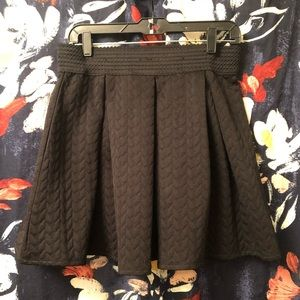 Black Pleaded A-line Skirt